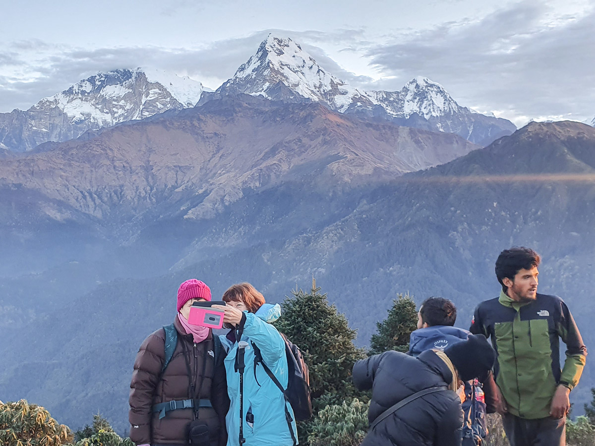 Taking pictures on Ghorepani and Poon Hill trek in Nepal