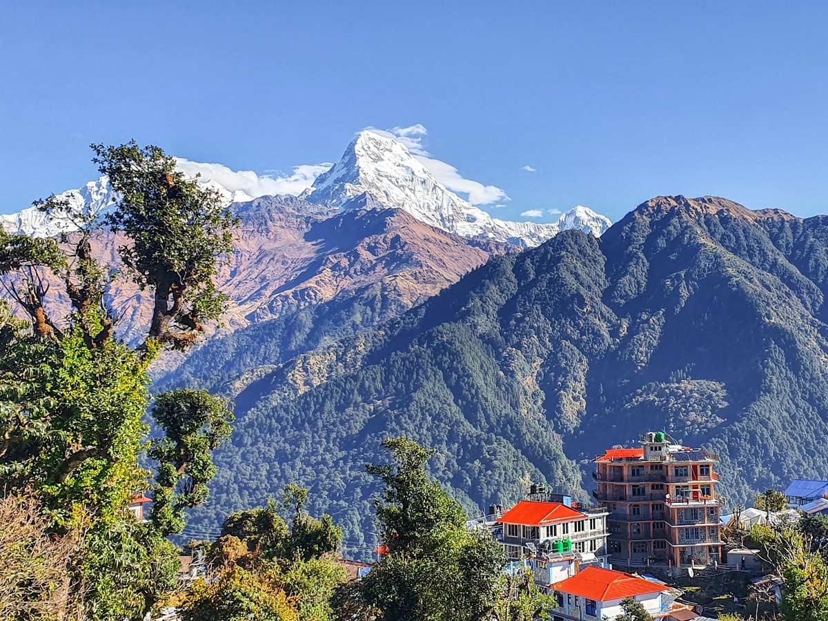 Stunning view of Machhapuchhre on Ghorepani and Poon Hill trek in Nepal