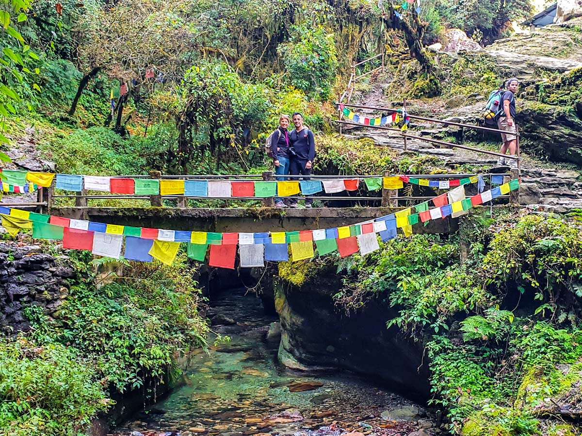 Crossing the river on Ghorepani and Poon Hill trek in Nepal
