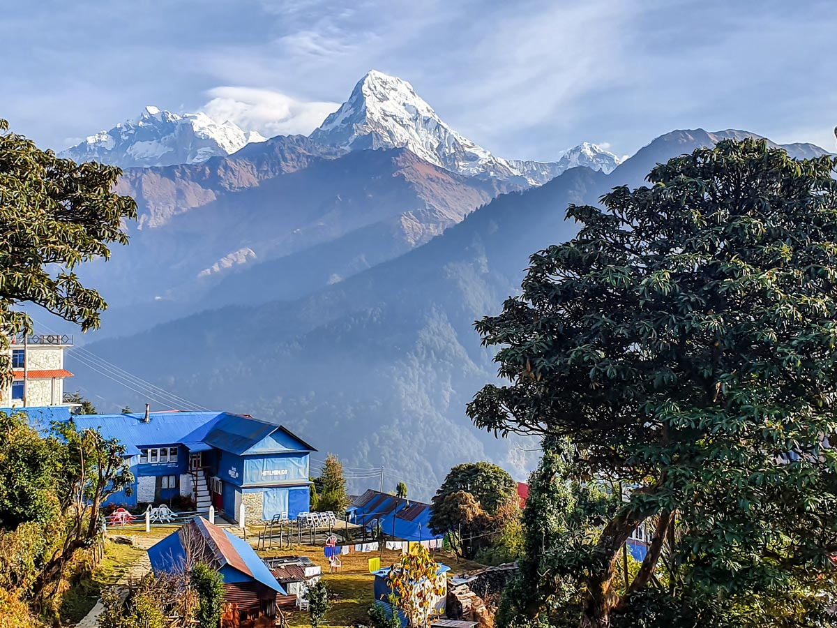 Beautiful views of Machhapuchhre Peak on Ghorepani and Poon Hill trek in Nepal