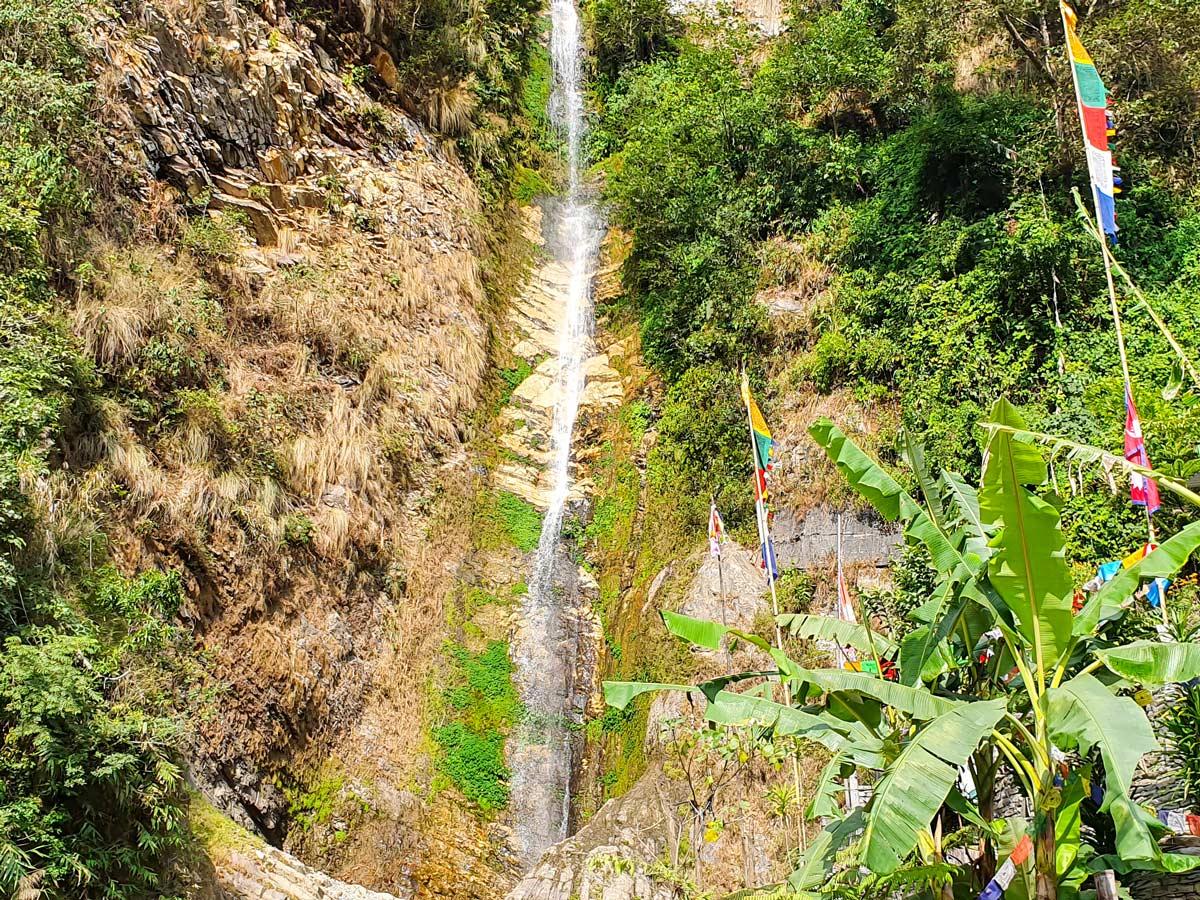 Very tall waterfall on Ghorepani and Poon Hill trek in Nepal