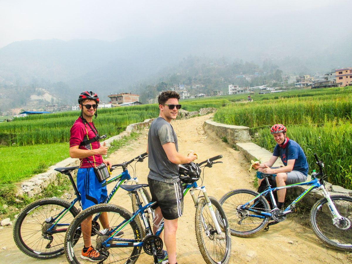 Cyclists resting on Cycling around Kathmandu Tour in Nepal