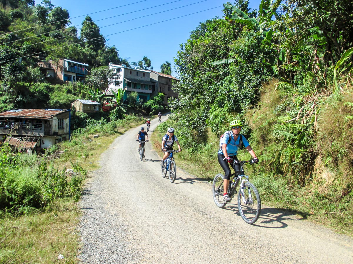 Group of cyclists on Cycling around Kathmandu Tour in Nepal