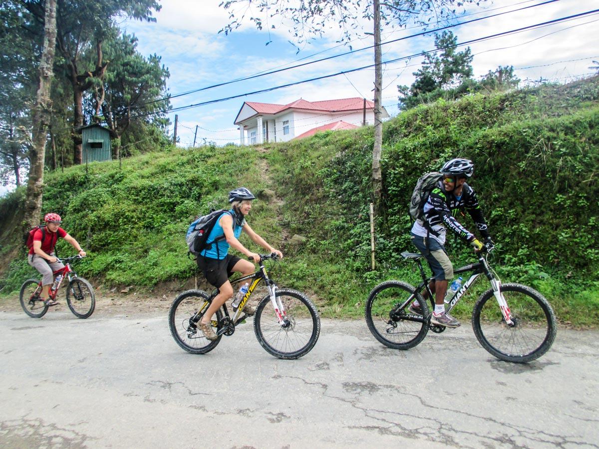 Cyclists on Bikling around Kathmandu Tour in Nepal