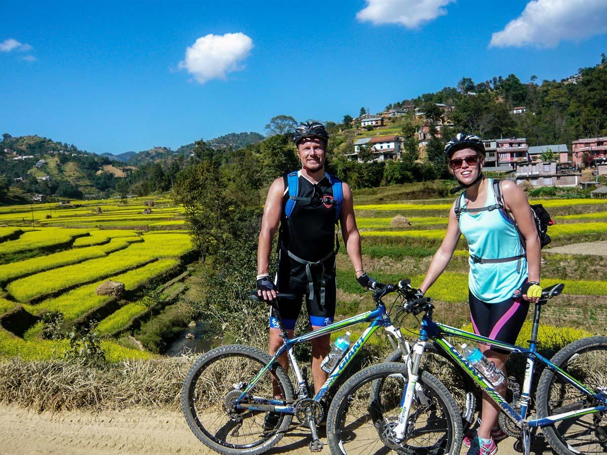 Posing on the trail of Biking around Kathmandu Tour in Nepal