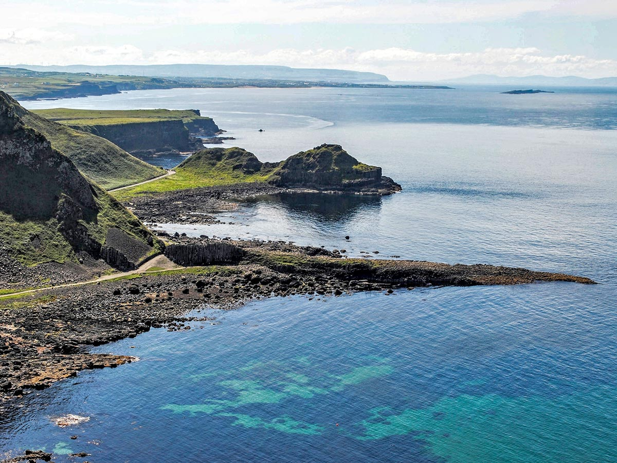 The aerial view of Giants Causeway that you pass on Coastal Causeway Route