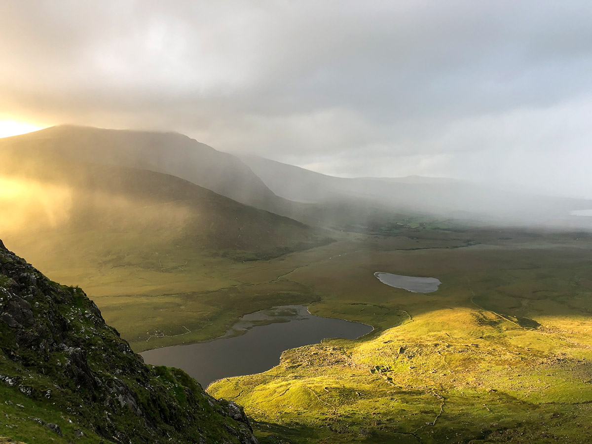 Views around the Conor Pass as seen on Deluxe Cycling in Kerry Mountains Tour