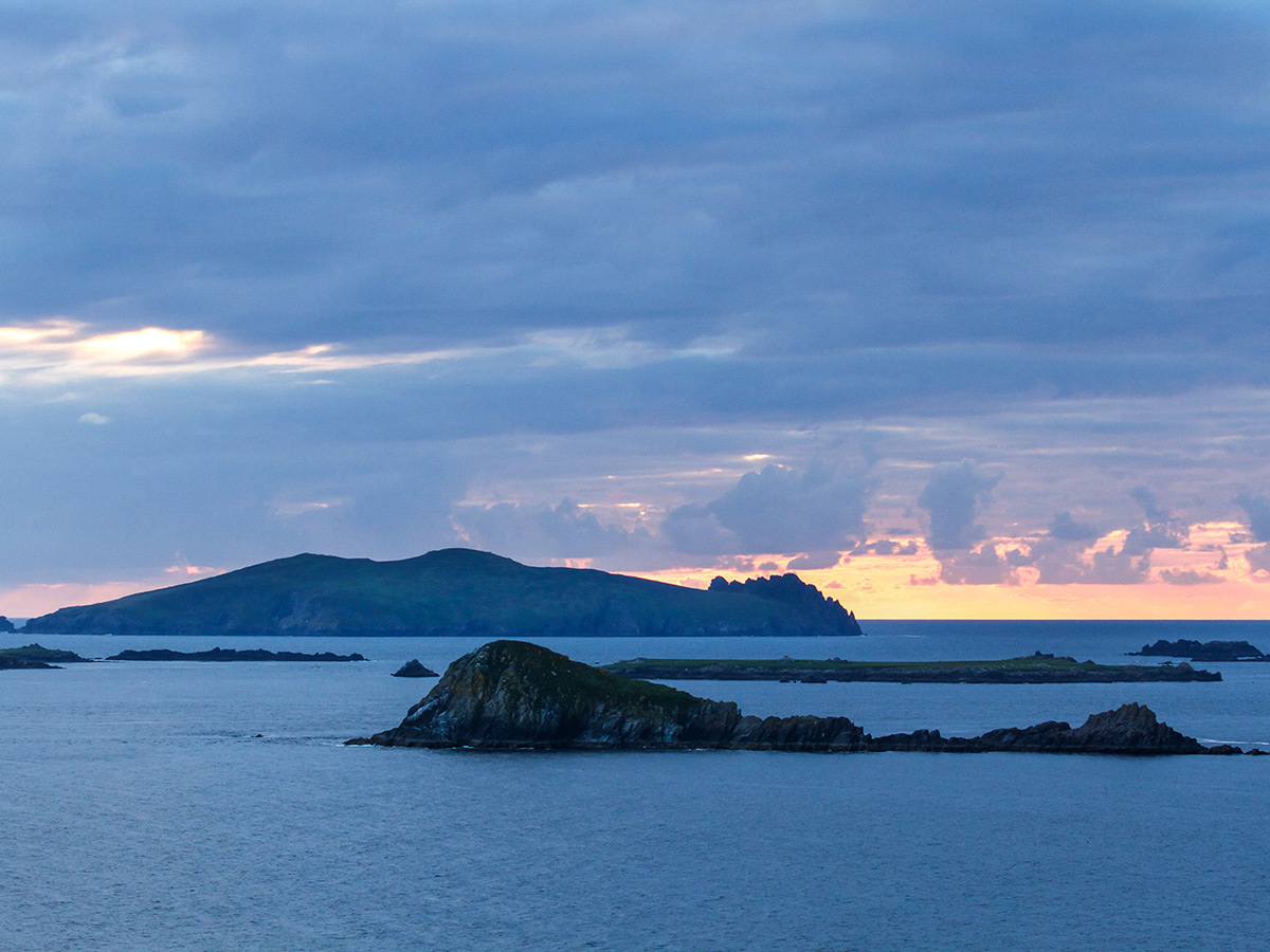 Dingle Peninsula at sunset on Deluxe Cycling in Kerry Mountains Tour