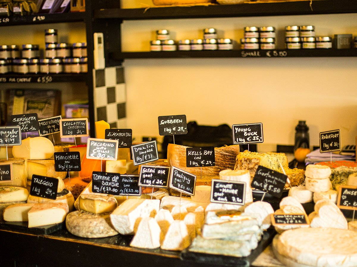 Beautiful selection of cheese seen in Cheese shop on Deluxe Hiking Kerry Mountains tour
