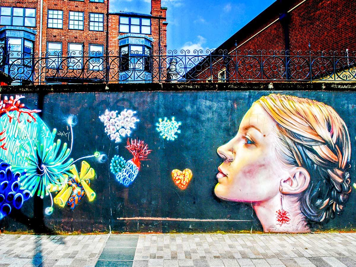 Belfast mural seen on Family Adventure Giants Myths Legends Tour in Ireland
