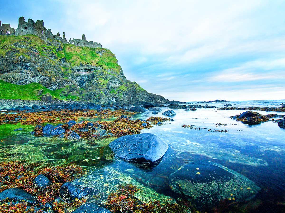 Dunluce Castle cliff as seen on Family Adventure Giants Myths Legends Tour