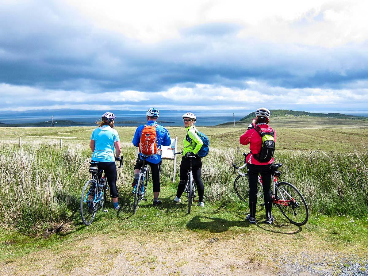Bikers posing on Arran Islay and Jura Road Biking Tour in Scotland