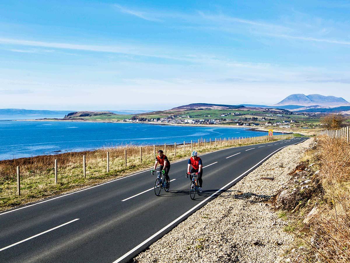 Arran Islay and Jura Road Biking Tour includes riding along the beautiful coast