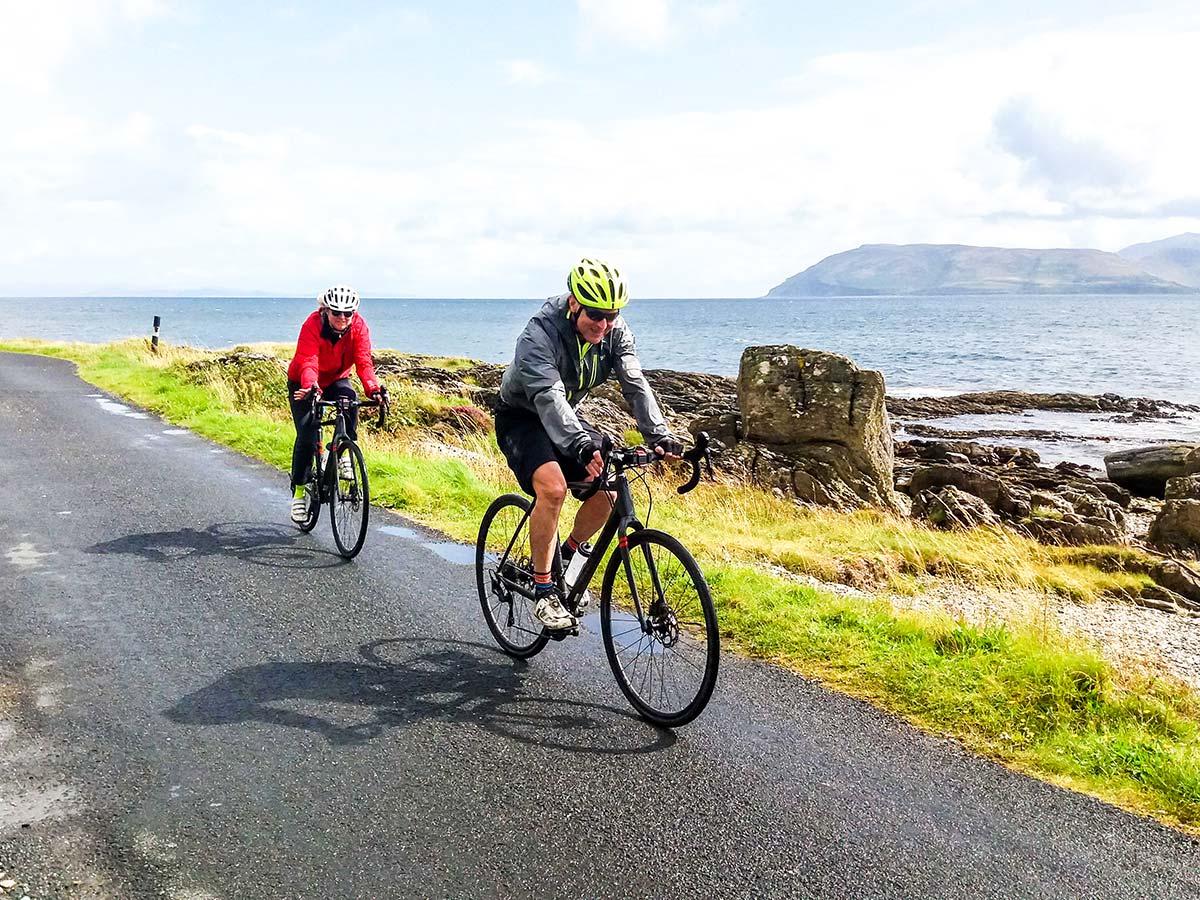 Riding along the coast on Arran Islay and Jura Road Biking Tour