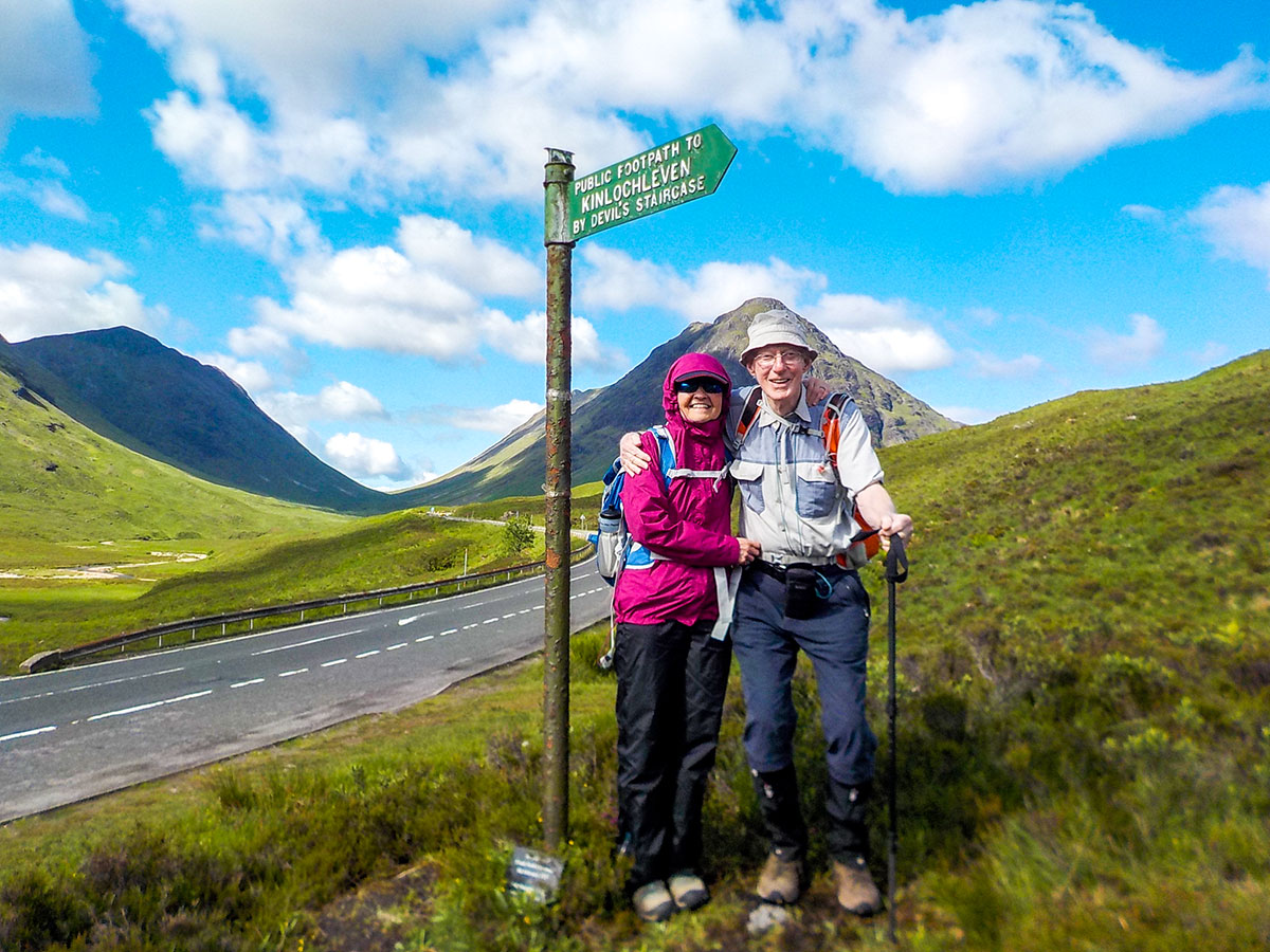 Happy walkers on Glencoe and the Highlands walking tour in Scotland