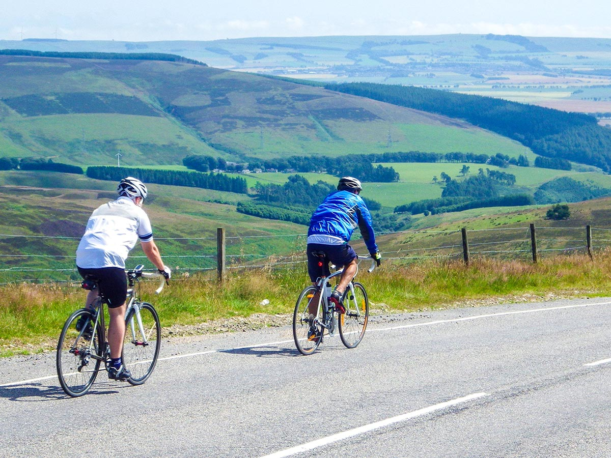 Two bikers on Road Cycling tour from Inverness to Edinburgh in Scotland