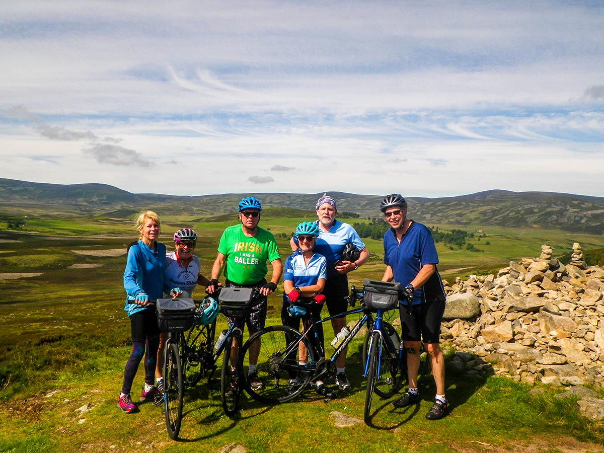 Group of bikers posing on Road Cycling tour from Inverness to Edinburgh