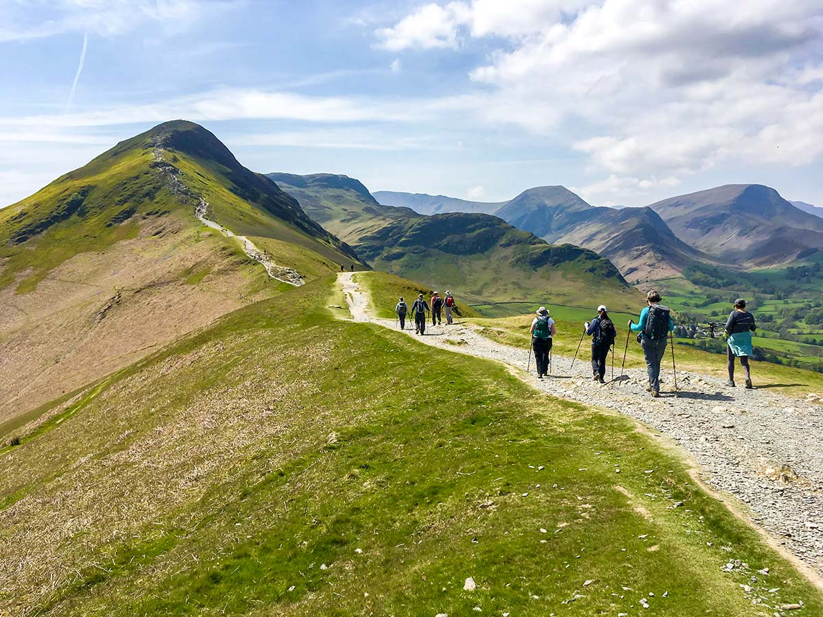 Group of hikers approaching the peak on National Parks of the UK Guided Walking Tour