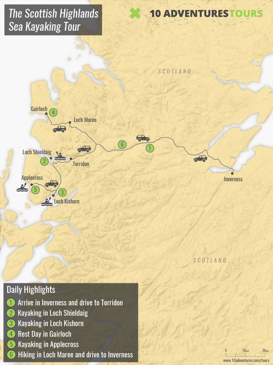 Map of The Scottish Highlands Sea Kayaking Tour with a guided group