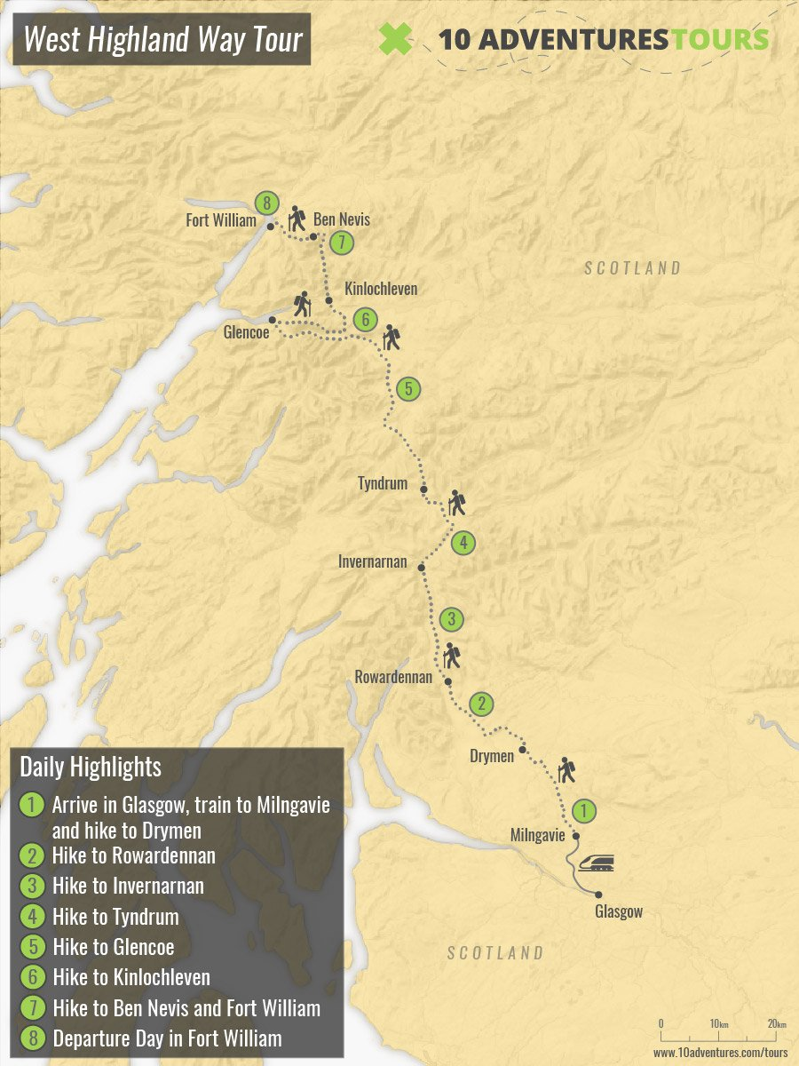Map of West Highland Way Tour with a guided group in Scotland