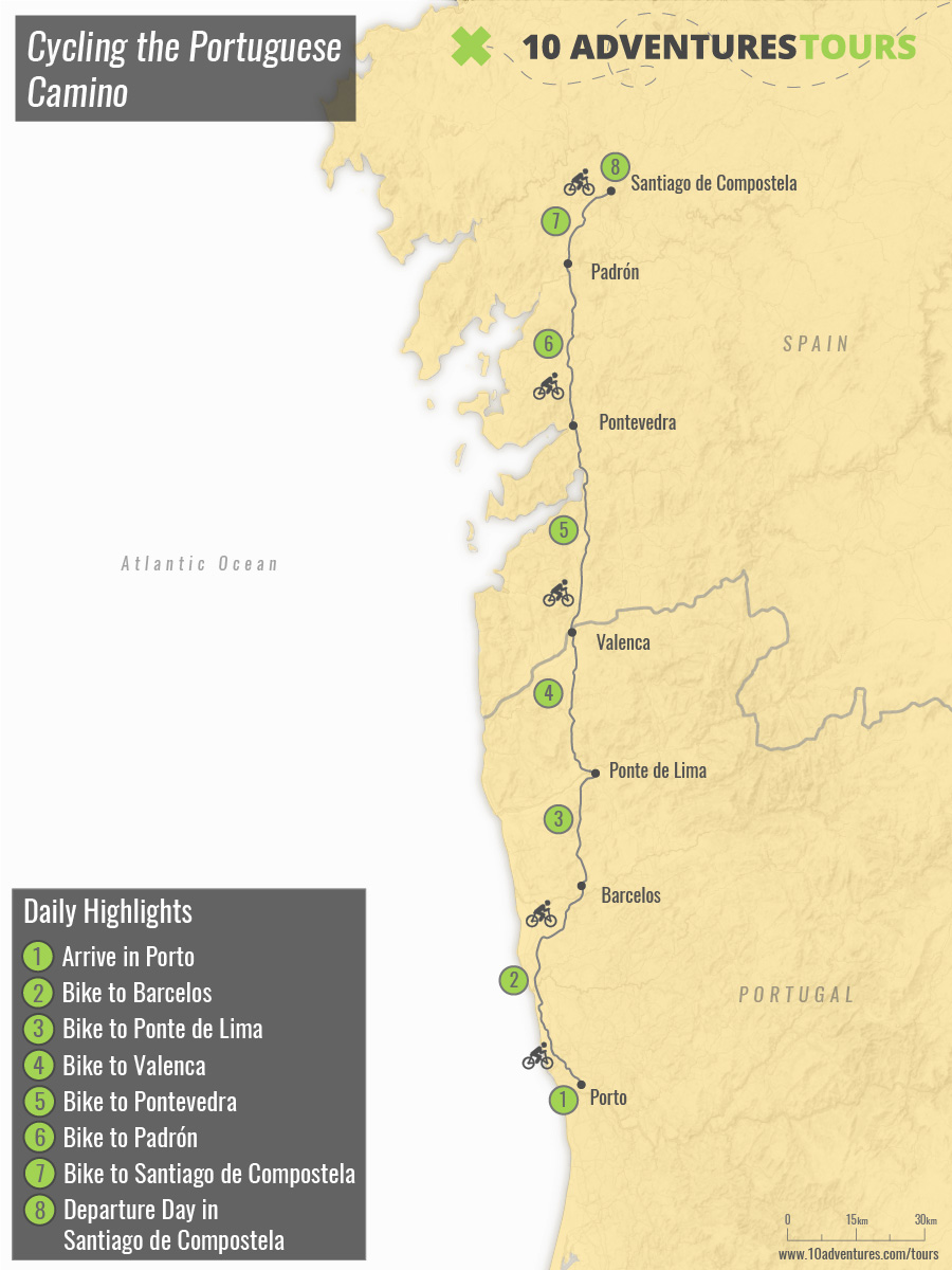 Map of Cycling the Portuguese Camino tour with a guided group in Spain