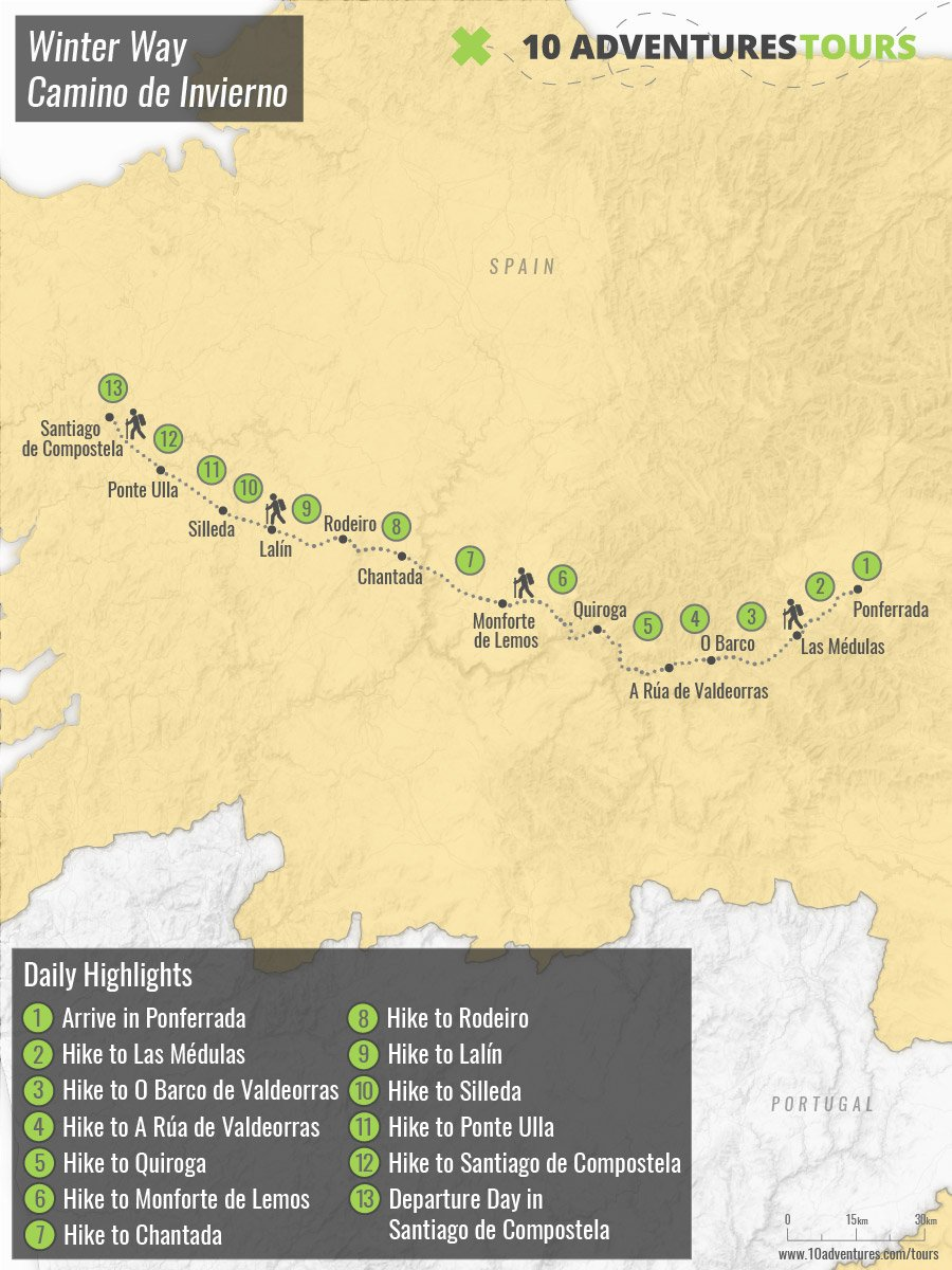 Map of self-guided Camino Invierno de Santiago