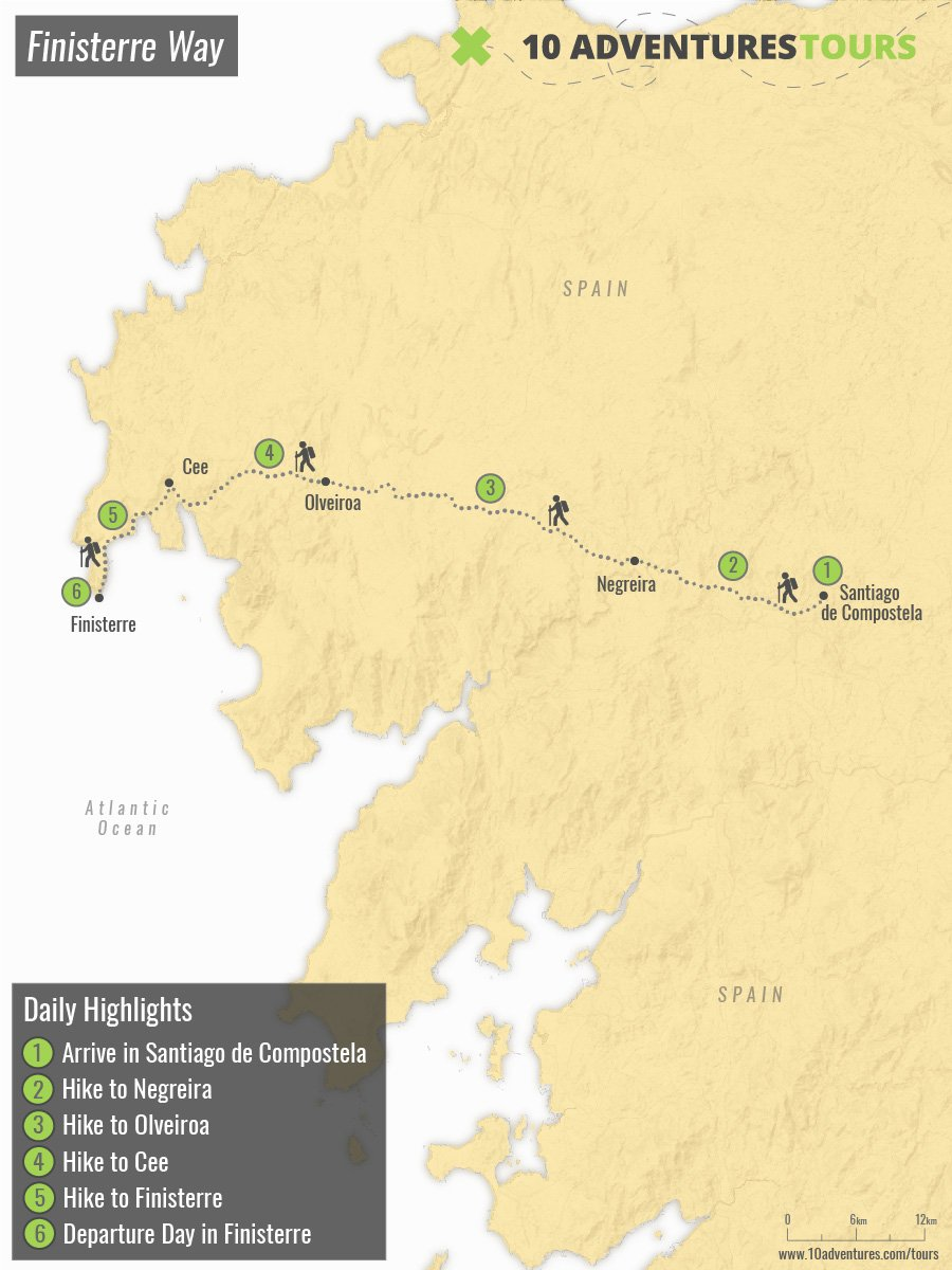 Map of self-guided Finisterre Way