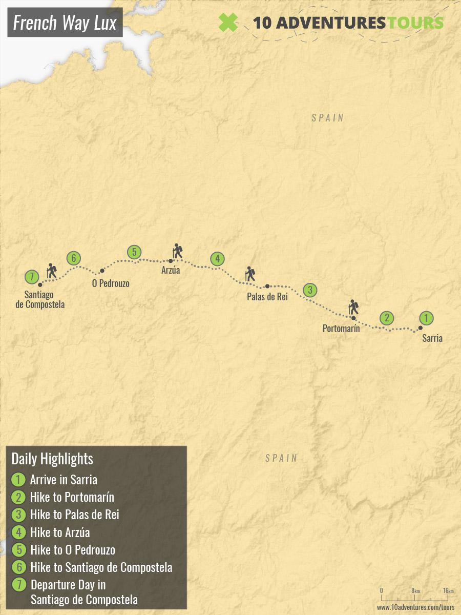 Map of self-guided Camino de Santiago in Luxury