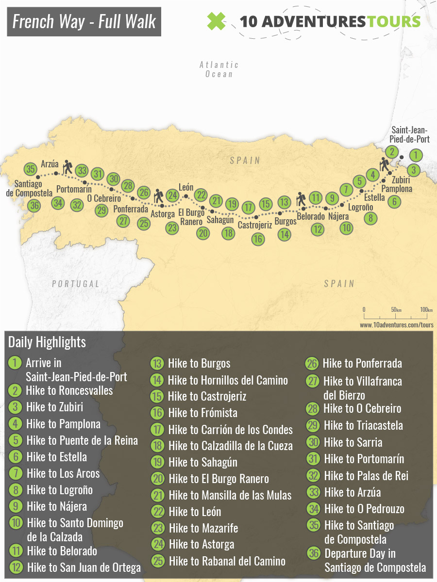 Map of self-guided Complete Camino Frances