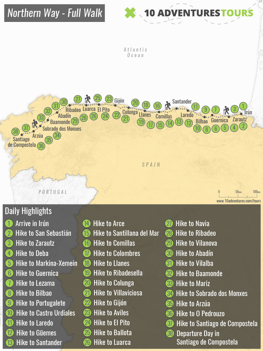 Map of self-guided Camino de Santiago Northern Way