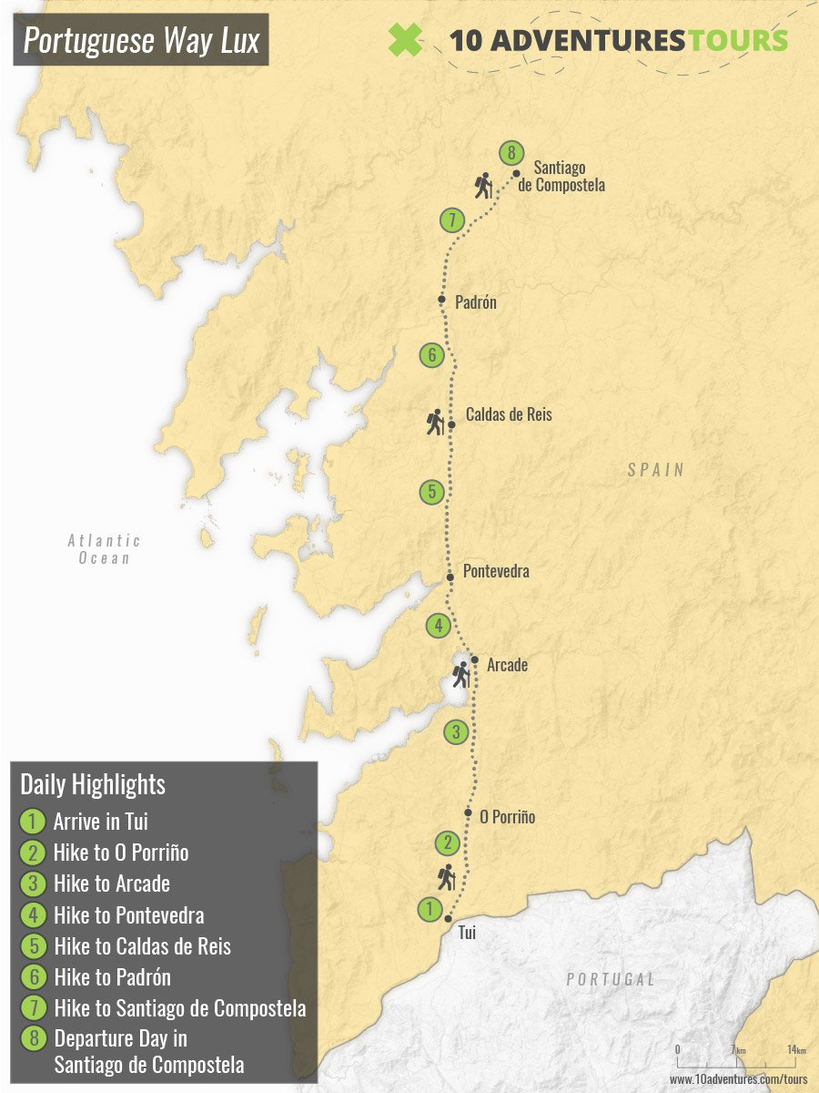 Map of self-guided Camino Portugues in Luxury