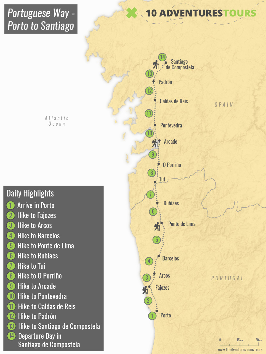 Map of self-guided Portuguese Camino from Porto to Santiago
