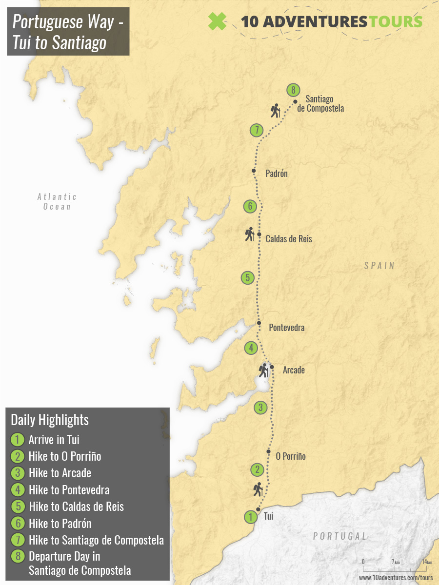 Map of self-guided Portuguese Camino to Santiago – Last 100km