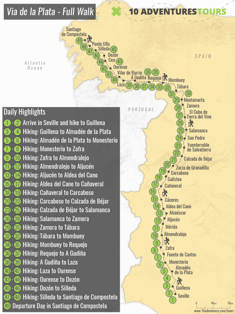 Map of self-guided Via de la Plata Pilgrimage