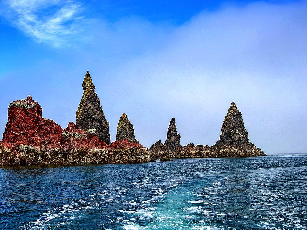 Amazing rock formations along the coast of Shantar Islands