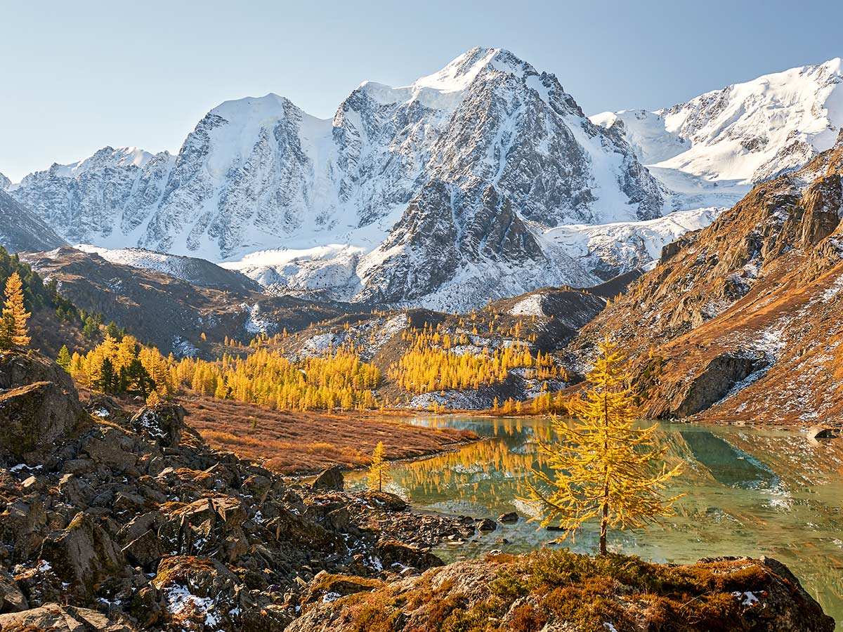 Autumn views of Altai Mountains seen on Golden Ring of Altai Trek in Russia