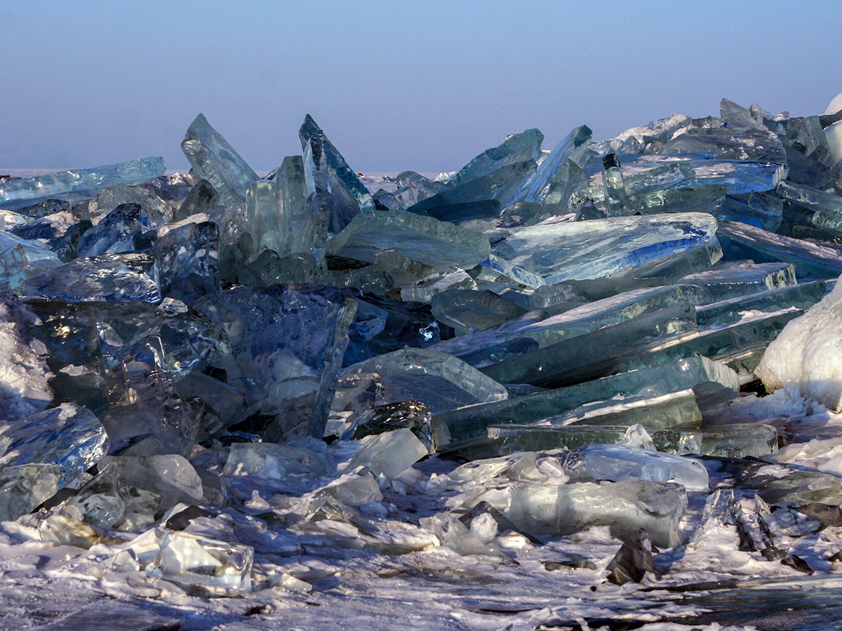During winter lake Baikal gets covered by beautiful ice formations