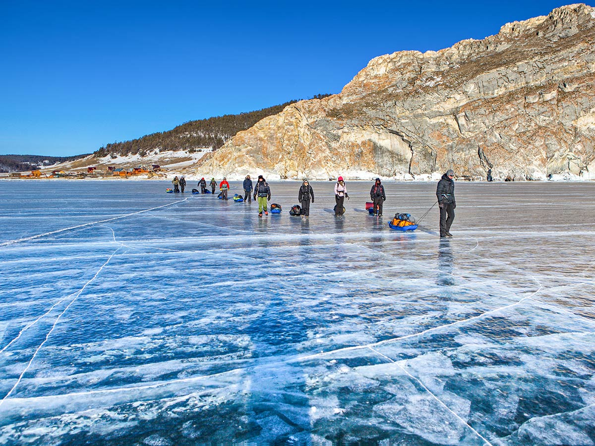 Crossing the Lake Baikal with a group is an unforgettable experience