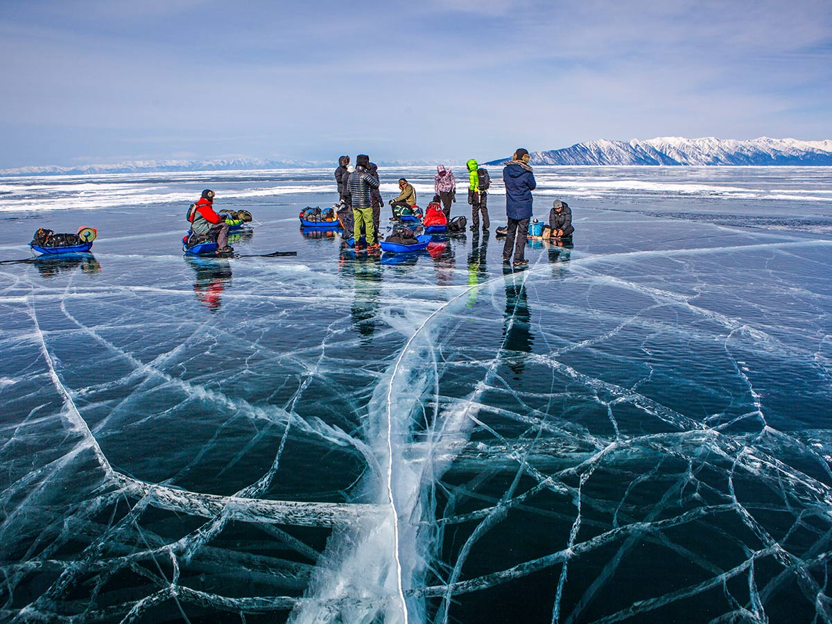 Group of hikers crossing the Lake Baikal