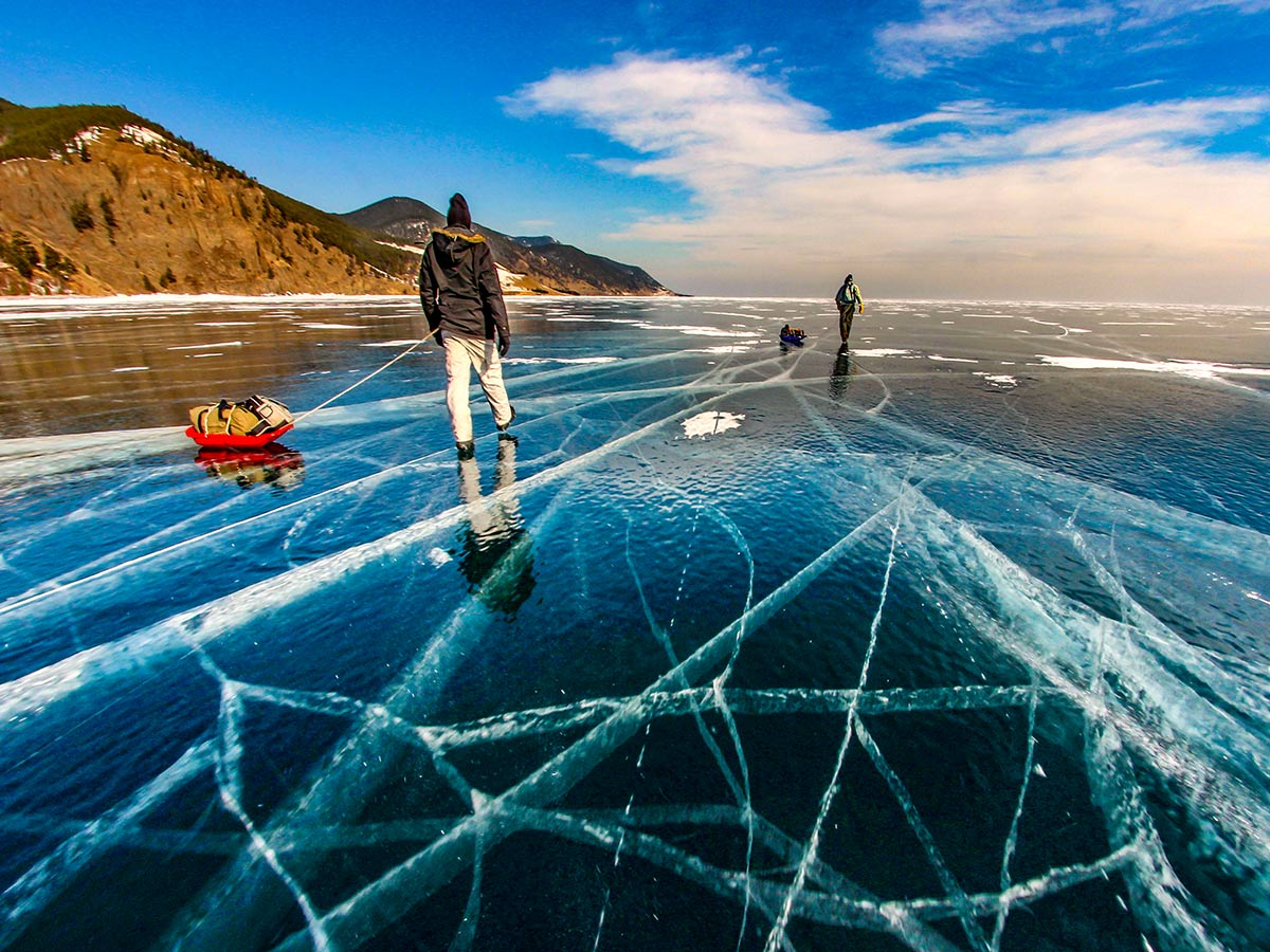 Sunny day over frozen Lake Baikal
