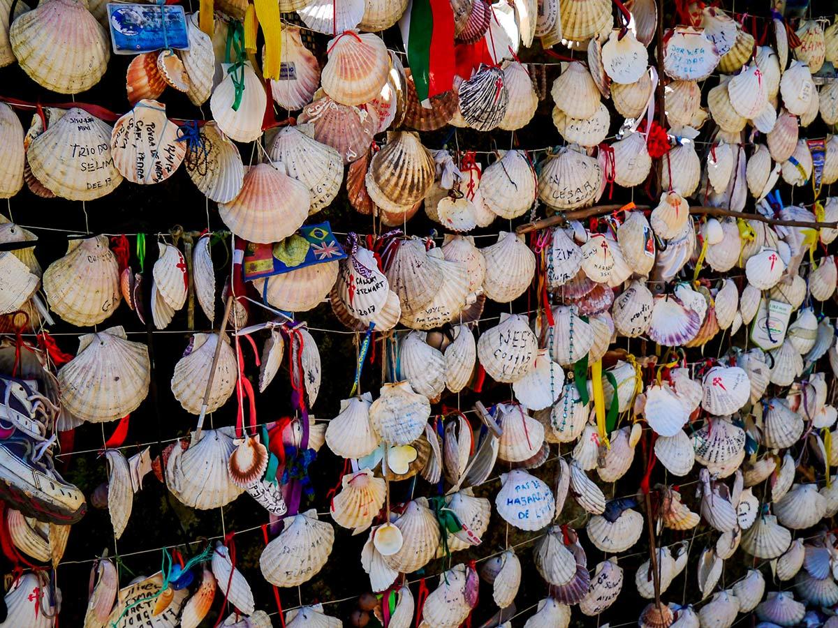 Randonela wall of shells on French Camino Biking