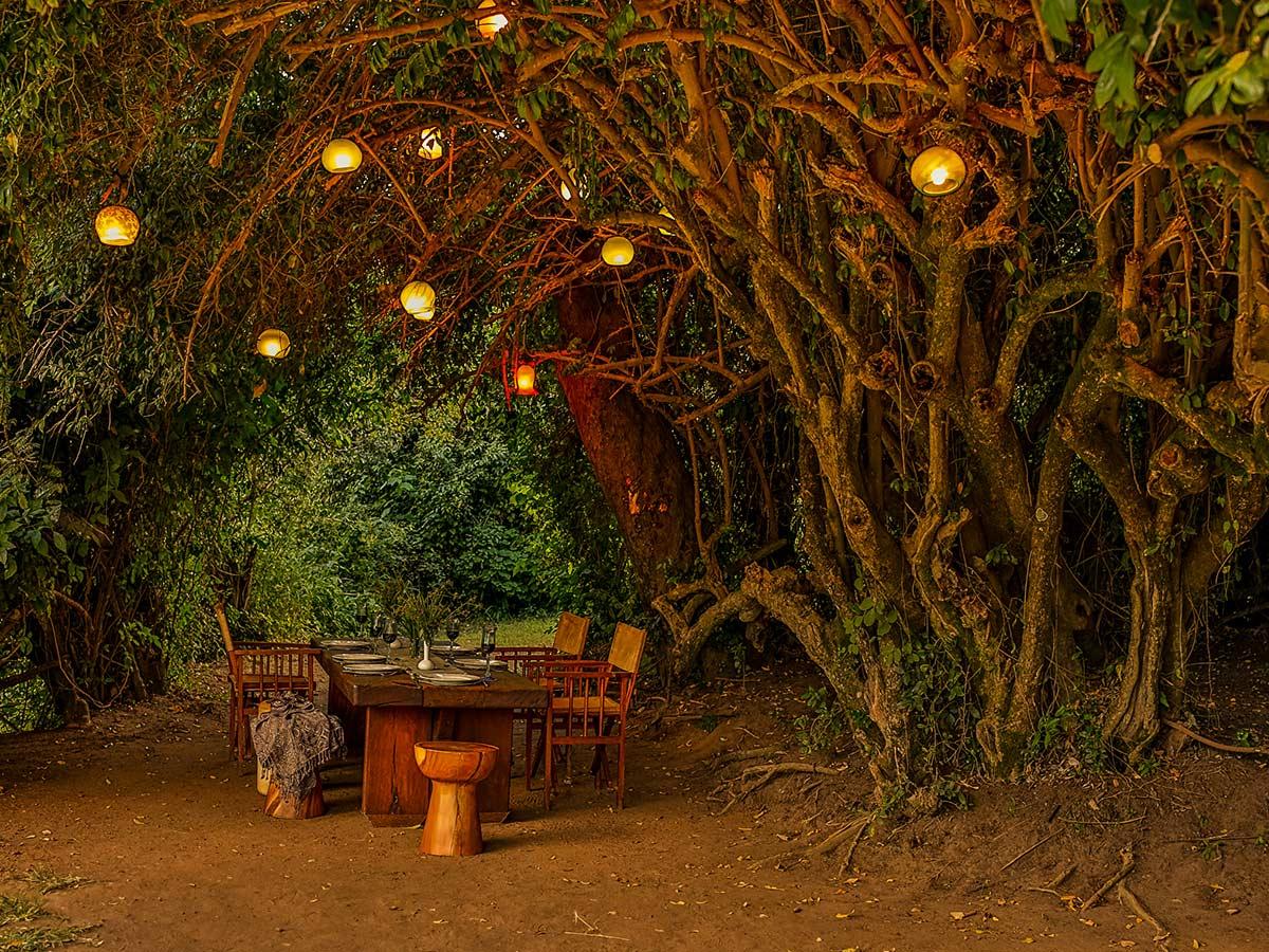 Beautiful table set for lunch in safari camp on Tanazia and Kenia Safari