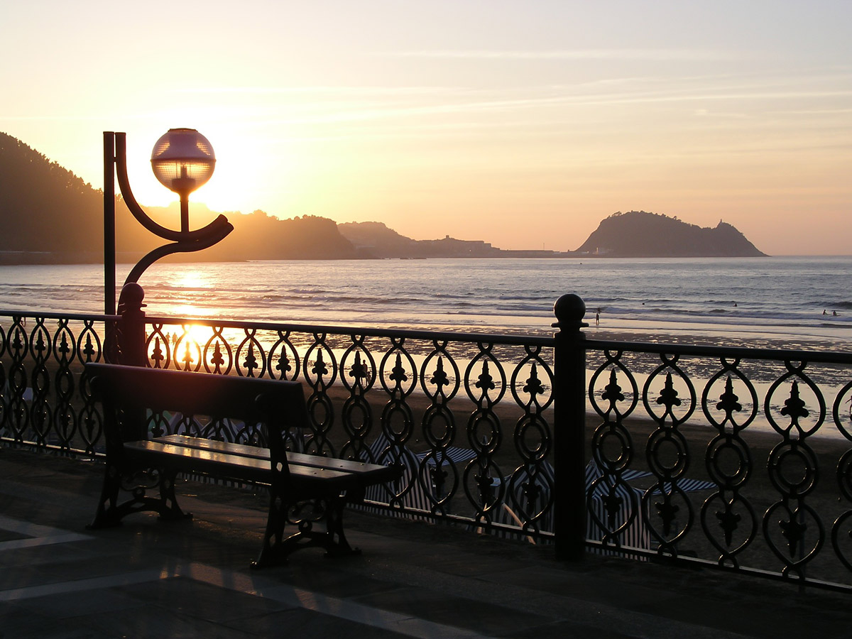 Sunset over Zarautz on Self guided Northern Way Tour