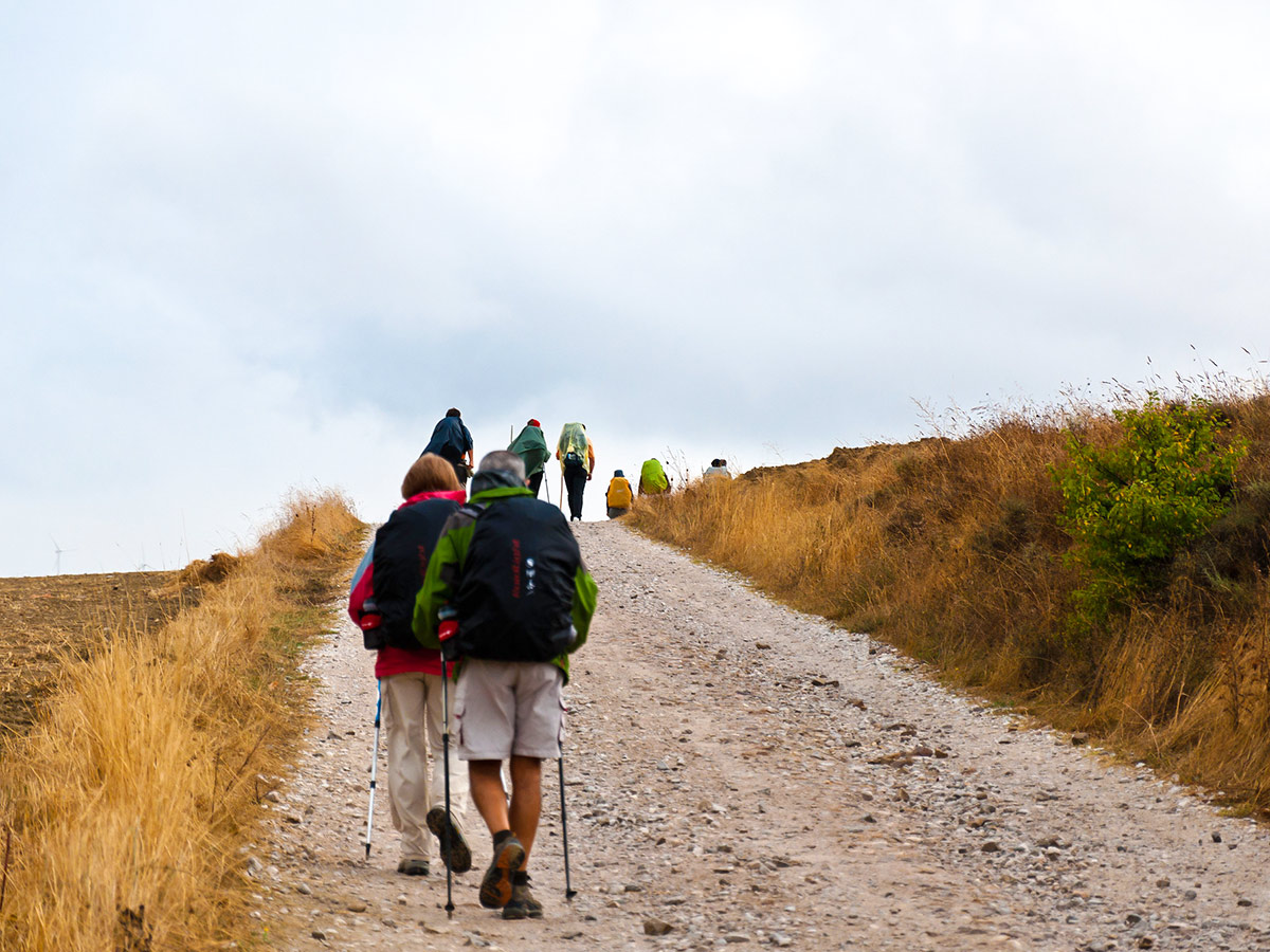 Group of trekkers met on Camino de Santiago on Portuguese Way