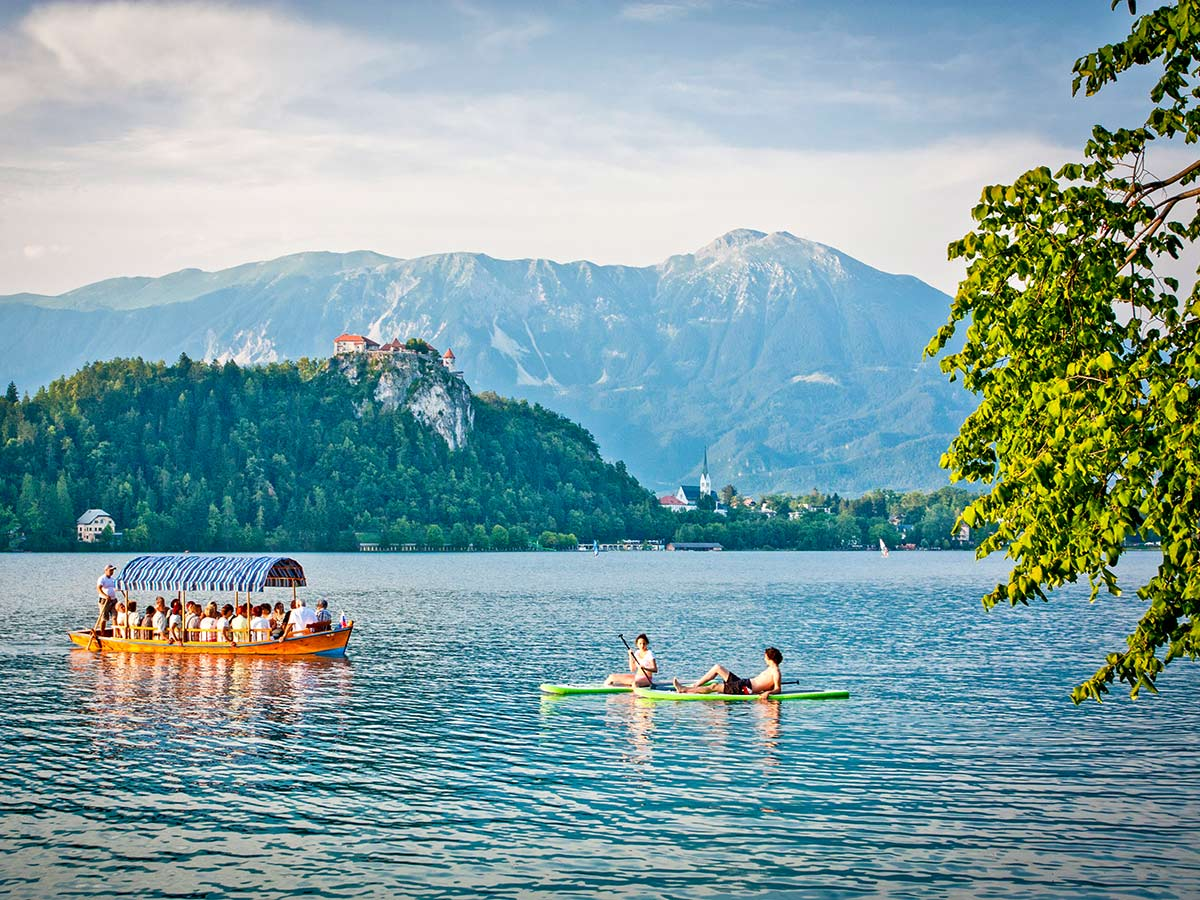 Water activities in Lake Bled Slovenian Alps
