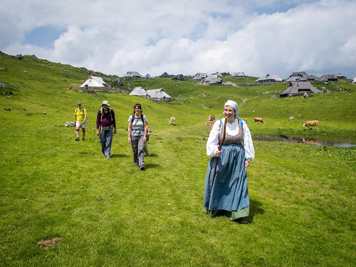 Lady in traditional Slovenian clothes met on Best Walks in Slovenia Tour