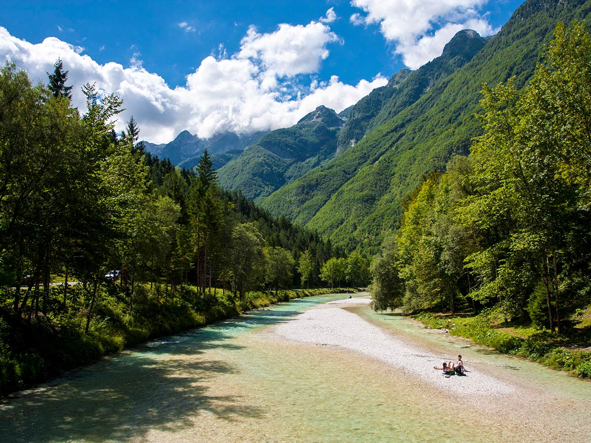 Beautiful turquoise river in Soca valley Slovenia