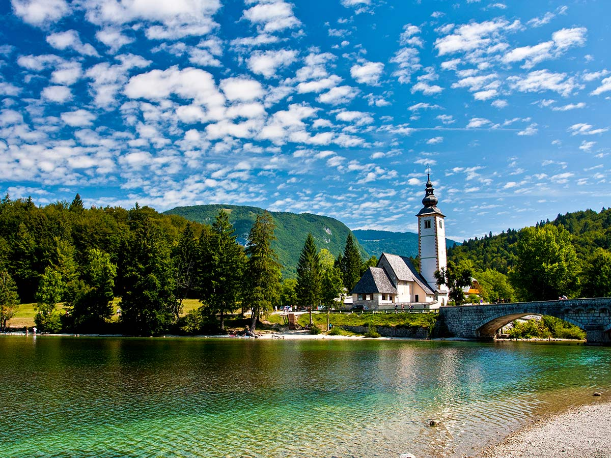 Lake Bohinj in Slovenia seen on Best Walks in Slovenia Tour with a guide