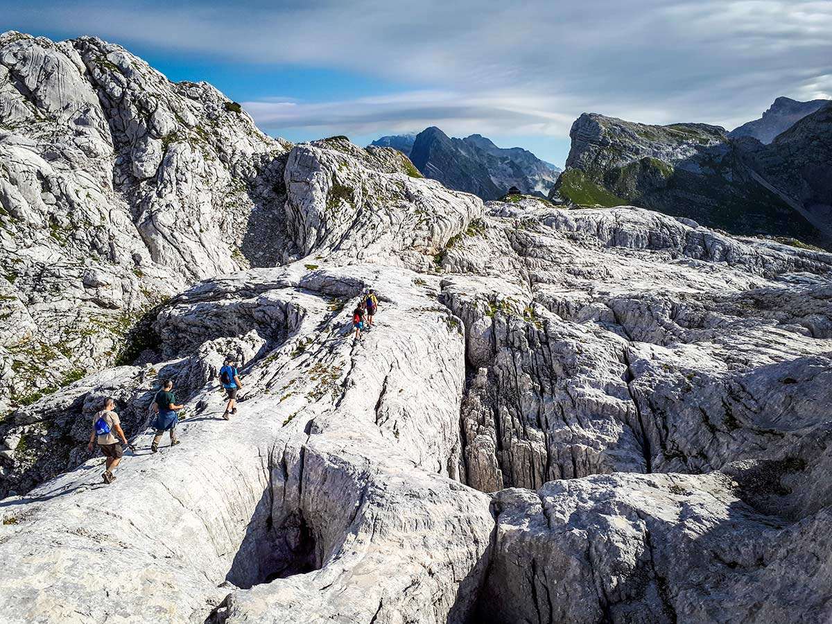 Group of hikers in Julian Alps on Discover Slovenian Alps Tour