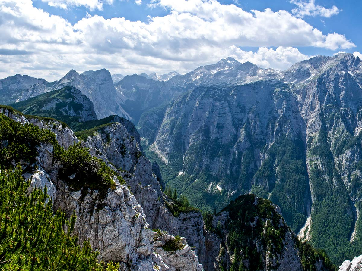 Beautiful peaks around Debela Pec in Slovenian Alps